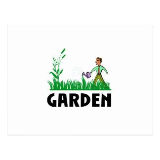 Cartão Postal molhando o jardim