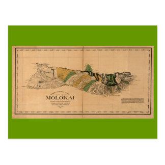 Cartão Postal Molokai, 1897, mapa de Havaí do vintage