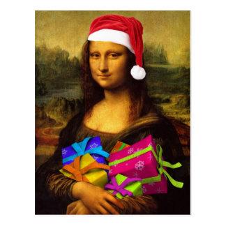Cartão Postal Mona engraçada Lisa Papai Noel