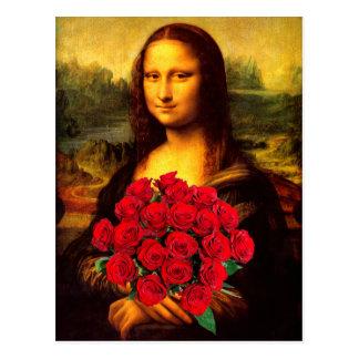 Cartão Postal Mona Lisa com o buquê das rosas vermelhas