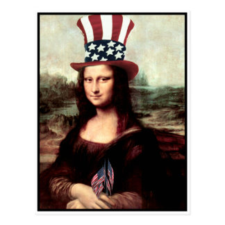 Cartão Postal Mona patriótica Lisa - apronte para o Dia da