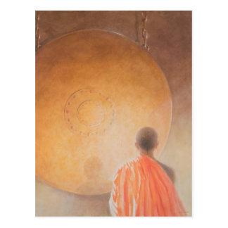 Cartão Postal Monge budista e gongo novos Bhutan 2010