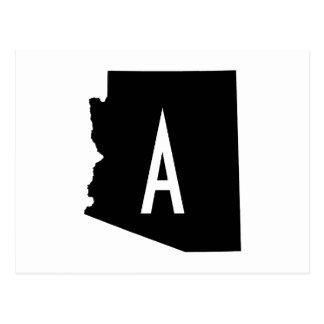 Cartão Postal Monograma branco e preto da arizona