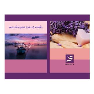 Cartão Postal Monograma da foto da listra da paleta de cores do