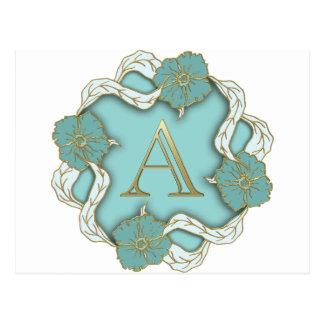 Cartão Postal monograma do alfabeto A