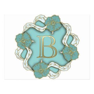 Cartão Postal monograma do alfabeto b