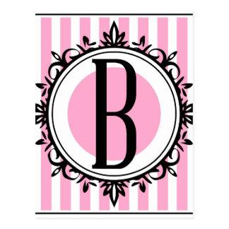 """Cartão Postal Monograma do rosa """"B"""""""