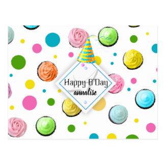 Cartão Postal Monograma dos cupcakes e dos pontos do aniversário