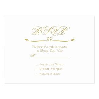 Cartão Postal Monograma elegante RSVP do branco e do ouro