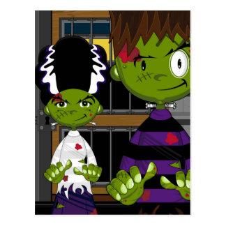 Cartão Postal Monstro do Dia das Bruxas Frankensteins dos