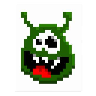 Cartão Postal Monstro verde - arte do pixel