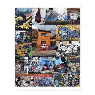 Cartão Postal Montagem da pintura mural da arte da rua de Bogotá