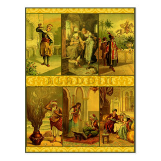 Cartão Postal Montagem do Natal de Aladdin do vintage