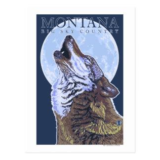 Cartão Postal Montana -- Lobo grande de CountryHowling do céu