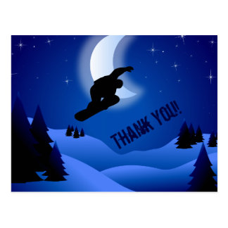 Cartão Postal Montanha da snowboarding da noite e obrigado da