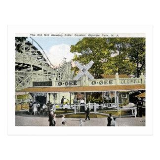 Cartão Postal Montanha russa, parque olímpico, vintage de