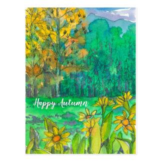 Cartão Postal Montanhas felizes das árvores da queda do outono