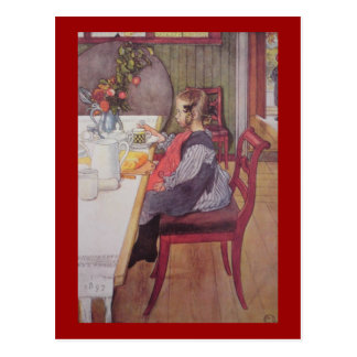 Cartão Postal Montante atrasado no pequeno almoço