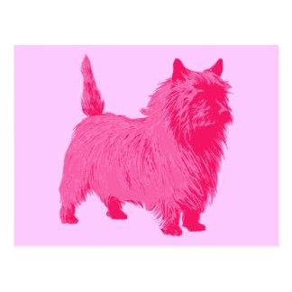 Cartão Postal Monte de pedras Terrier cor-de-rosa