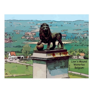 Cartão Postal Monte do leão no campo de batalha de Waterloo