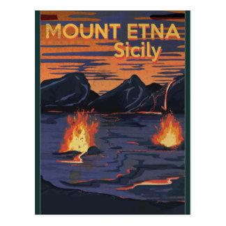 Cartão Postal Monte Etna, poster das viagens vintage de Sicília