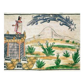 Cartão Postal Montezuma II que olham um cometa, 1579