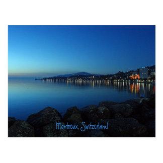 Cartão Postal Montreux em a noite