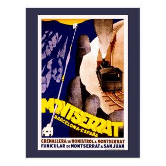 Cartão Postal Montserrat, poster das viagens vintage da espanha