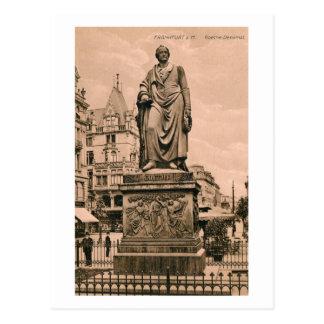 Cartão Postal Monumento Francoforte Alemanha de Goethe do