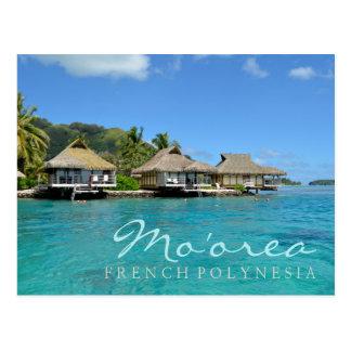 Cartão Postal Moorea em Polinésia francesa com bungalows