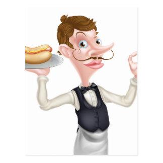 Cartão Postal Mordomo perfeito do Hotdog dos desenhos animados