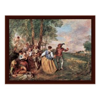 Cartão Postal Morre Schäfer (Fêtes galhardo) por Watteau Antoine