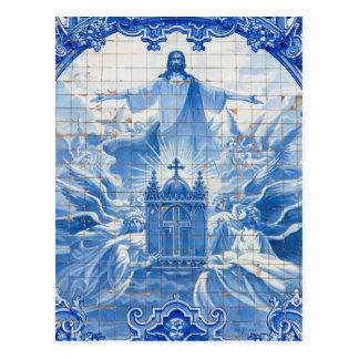 Cartão Postal Mosaico azul do azulejo de jesus, Portugal