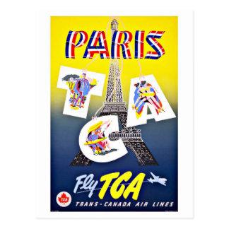 Cartão Postal Mosca de Paris com linhas aéreas de Canadá