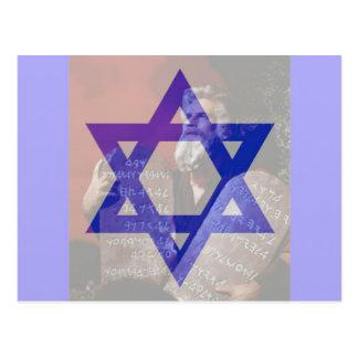 Cartão Postal Moses, as tabuletas e a estrela de David.