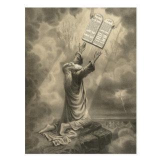 Cartão Postal Moses que recebe a lei os dez mandamentos