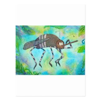 Cartão Postal Mosquito colorido lunático que dobra os músculos