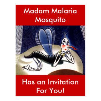 Cartão Postal Mosquito da senhora malária do vintage