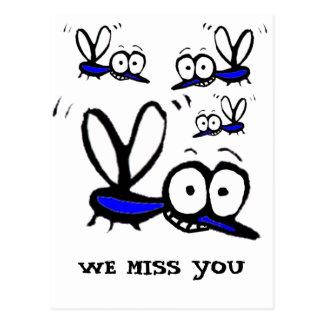 Cartão Postal mosquito engraçado dos desenhos animados