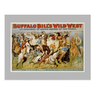 Cartão Postal Mostra ocidental selvagem de Buffalo Bill, c1899.