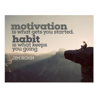 Cartão Postal Motivação e hábito por Jim Rohn