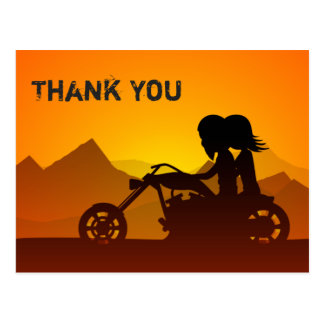 Cartão Postal Motocicleta da equitação do casal com obrigado das