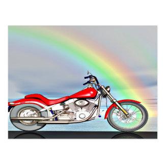 Cartão Postal Motocicleta e arco-íris