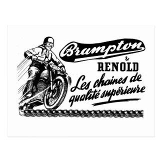 Cartão Postal Motocicleta retro de Brampton Renold do vintage
