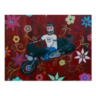 Cartão Postal Motociclista de Diâmetro de los Muertos Harley