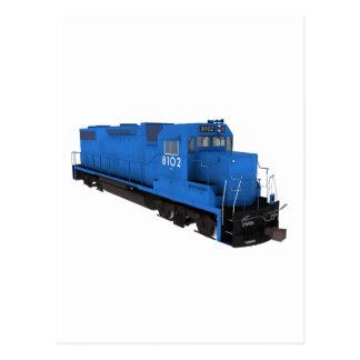 Cartão Postal Motor azul do trem: