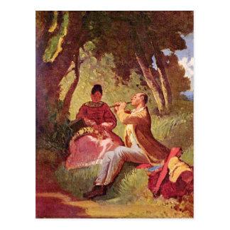 Cartão Postal Motriz do vintage - concerto da flauta - Spitzweg