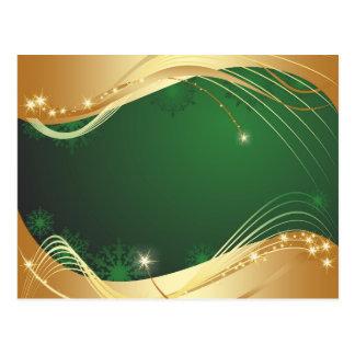 Cartão Postal Motriz dourado do Natal com fundo verde…