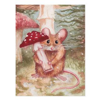 Cartão Postal Mouse & Mushroom