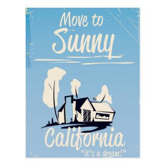 Cartão Postal Mova-se para o poster vintage ensolarado de